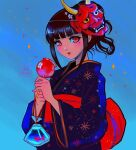 1girl alternate_hairstyle artist_name bangs black_hair black_kimono blunt_bangs blush brown_hair candy_apple commentary danganronpa_(series) danganronpa_v3:_killing_harmony fake_horns fish food goldfish hands_up harukawa_maki holding horns japanese_clothes kimono looking_at_viewer mask mask_on_head missarilicious obi oni_mask open_mouth print_kimono red_eyes red_kimono sash shiny shiny_hair short_hair solo sparkle transparent_bag upper_body wide_sleeves
