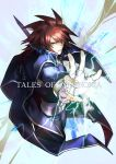 1boy bangs belt cape copyright_name cropped_legs electricity fingerless_gloves gloves holding holding_sword holding_weapon kratos_aurion looking_at_viewer male_focus pants red_eyes redhead shin_(sinsin12121) simple_background solo sword tales_of_(series) tales_of_symphonia weapon white_gloves