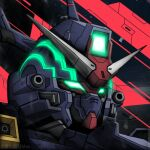 artist_name chinese_commentary close-up glowing glowing_eyes green_eyes gundam looking_ahead lowres mecha mobile_suit_moon_gundam no_humans psycho_gundam_mk-iv_g-doors science_fiction solo v-fin watermark weibo_username xing_chen_yunluo_max
