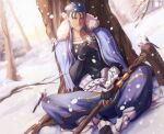 1boy animal belt bird blue_hair bracelet capelet cu_chulainn_(fate)_(all) cu_chulainn_(fate/grand_order) earrings fate/grand_order fate_(series) feathers full_body fur-trimmed_hood fur_trim gravesecrets greaves holding holding_staff hood hood_down hooded_capelet jewelry long_hair male_focus muscular outdoors pants red_eyes sitting skin_tight smile snow snowing spiky_hair staff tree type-moon vambraces winter wooden_staff