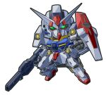 chibi gun gundam gundam_00 gundam_00p gundam_plutone highres holding holding_gun holding_weapon looking_ahead mecha meta_meta no_humans open_hand science_fiction shield v-fin weapon white_background