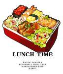 english_text food food_focus fried_rice garnish gunkanmaki lunchbox meat nigirizushi no_humans noodles nori_(seaweed) obentou omelet original rice roe salad shrimp simple_background sini_the_girl spring_onion still_life sushi tamagoyaki vegetable white_background