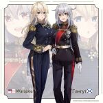 2girls alternate_costume blonde_hair blue_eyes breasts epaulettes gangut_(kantai_collection) gloves grey_hair hair_between_eyes highres himeyamato kantai_collection long_hair long_sleeves military military_uniform multiple_girls open_mouth scar scar_on_face silver_hair smile uniform warspite_(kantai_collection) white_ensign white_gloves