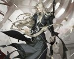 1boy beard blonde_hair blood blood_splatter european_clothes facial_hair fate/apocrypha fate/grand_order fate_(series) gecl4 head_tilt highres holding holding_lance holding_polearm holding_weapon lance long_hair long_sleeves looking_to_the_side male_focus polearm skeleton solo vlad_iii_(fate/apocrypha) weapon