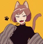 1girl animal_ears black_shirt brown_eyes brown_hair cat_ears cat_tail fangs kisaragi_yuu_(fallen_sky) looking_at_viewer open_mouth original shirt short_hair signature simple_background smile solo tail upper_body yellow_background