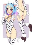 1girl 2021 :d aikatsu!_(series) aikatsu_friends! animal_ears animal_print ass back backless_leotard bare_shoulders bell bell_choker birthday blue_hair border braid breasts brown_footwear chinese_zodiac choker cleavage_cutout clothing_cutout cow_ears cow_girl cow_horns cow_print cow_tail cowbell cropped_legs fake_animal_ears fake_horns fake_tail french_braid from_behind fur_trim gradient_hair groin hair_ornament halterneck head_out_of_frame high_heels highleg highleg_leotard highres horns leotard minato_mio multicolored_hair multiple_views ok_sign open_mouth pointing pointing_down purple_hair round_teeth small_breasts smile solo star_(symbol) star_hair_ornament symbol_commentary tail teeth thigh-highs thong_leotard ukokkei upper_teeth v violet_eyes white_border wing_hair_ornament year_of_the_ox