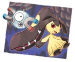 artist_name black_eyes black_hair blue_outline border cave commentary_request extra_mouth gen_1_pokemon gen_3_pokemon happy looking_at_another looking_at_viewer looking_to_the_side magnemite magnet mawile one-eyed open_mouth orange_outline outline outside_border pokemon pokemon_(creature) red_eyes rorosuke screw sharp_teeth smile stalactite teeth twitter_username white_border