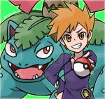 1boy arm_up artist_name bangs blue_oak border commentary_request creatures_(company) fangs game_freak gen_1_pokemon green_background green_outline grin hand_on_hip happy highres holding holding_poke_ball jewelry long_sleeves looking_at_another looking_at_viewer male_focus matching_hair/eyes necklace nintendo open_mouth orange_eyes orange_hair outline outstretched_arm poke_ball poke_ball_(basic) pokemon pokemon_(creature) pokemon_(game) pokemon_rgby purple_shirt red_eyes rorosuke shirt short_hair simple_background smile spiky_hair standing teeth tongue twitter_username upper_body v-shaped_eyebrows venusaur