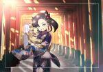 1girl alternate_costume asymmetrical_bangs bangs black_hair black_nails clenched_teeth commentary_request earrings eyelashes floral_print framed gen_8_pokemon green_eyes hair_ornament hari611 highres holding holding_pokemon japanese_clothes jewelry kimono long_sleeves looking_at_viewer marnie_(pokemon) morpeko morpeko_(full) nail_polish pokemon pokemon_(creature) pokemon_(game) pokemon_swsh signature smile standing teeth torii