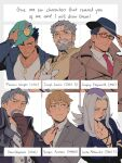 6+boys beard blush coat copyright_request facial_hair formal genn_greymane green_eyes gregory_edgeworth gyakuten_saiban highres jojo_no_kimyou_na_bouken joseph_joestar leone_abbacchio lipstick makeup mob_psycho_100 multiple_boys naruhodou_ryuuichi necktie old old_man pectorals pointing pointing_at_viewer purple_lipstick reigen_arataka six_fanarts_challenge spiky_hair toned toned_male warcraft world_of_warcraft worvies
