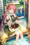 1girl :d animal apron bangs black_bow black_cat black_dress blue_eyes blush bosack bow breasts cat collared_shirt day detached_sleeves dress eyebrows_visible_through_hair fish flower frilled_apron frills hair_bow juliet_sleeves long_hair long_sleeves looking_at_viewer open_mouth original pink_flower pink_hair puffy_sleeves see-through see-through_sleeves shirt small_breasts smile soaking_feet solo striped striped_bow twintails very_long_hair water white_apron white_shirt wind_chime
