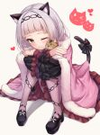 1girl absurdres animal_ear_fluff animal_ears arata_(xin) bangs blush cat cat_ears cat_tail closed_mouth hair_bun hair_ornament highres hololive knees_up legs_together long_hair long_sleeves looking_at_viewer murasaki_shion one_eye_closed ribbon sidelocks silver_hair simple_background sitting skirt smile solo tail tail_ornament tail_ribbon virtual_youtuber white_background yellow_eyes