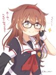 1girl asymmetrical_clothes bespectacled black_gloves black_serafuku brown_eyes brown_hair fingerless_gloves glasses gloves hair_flaps hairband kantai_collection looking_at_viewer neckerchief red_hairband red_neckwear remodel_(kantai_collection) ren_kun sailor_collar school_uniform serafuku shiratsuyu_(kantai_collection) simple_background smile solo translation_request twitter_username upper_body whistle whistle_around_neck white_background white_sailor_collar