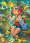 1girl 2021 animal_print bug building butterfly chinese_zodiac city city_lights cityscape fireworks gradient_hair insect kutsunohito multicolored_hair night original outdoors pink_hair power_lines scenery sitting skyscraper visor_cap year_of_the_ox yellow_eyes
