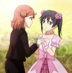 2girls black_hair bow bubble bush collarbone commentary dress earrings eye_contact flower formal gloves gradient_hair green_eyes green_hair hair_flower hair_ornament hairclip holding_hands interlocked_fingers jewelry large_bow looking_at_another love_live! love_live!_nijigasaki_high_school_idol_club medium_hair multicolored_hair multiple_girls necklace orange_hair outdoors pants pearl_necklace raya_(yuri15923) side_bun smile star_(symbol) star_hair_ornament suit takasaki_yuu twintails uehara_ayumu yellow_eyes yuri