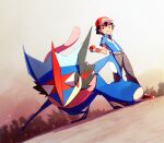 1boy ame_(ame025) ash-greninja ash_ketchum bangs baseball_cap blue_jacket brown_eyes closed_mouth commentary_request fingerless_gloves from_below gen_6_pokemon gloves greninja hat holding holding_poke_ball jacket male_focus outdoors pants poke_ball poke_ball_(basic) pokemon pokemon_(anime) pokemon_(creature) pokemon_xy_(anime) red_footwear red_headwear shirt shoes short_hair short_sleeves smile standing tree