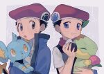 2boys :o :t berry_(pokemon) black_hair blue_eyes blue_jacket commentary_request dual_persona eating food food_on_face gen_4_pokemon grey_eyes hat holding holding_pokemon jacket long_sleeves looking_back lucas_(pokemon) male_focus multiple_boys onigiri oshi_taberu pokemon pokemon_(creature) pokemon_(game) pokemon_dppt pokemon_platinum red_headwear rice rice_on_face scarf shinx short_hair short_sleeves sweatdrop turtwig