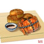 absurdres animal bound crab crustacean food food_focus highres jiumudao makisu mooncake no_humans original pastry saucer simple_background soy_sauce still_life tied_up