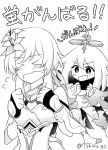 >_< 2girls :d artist_request clenched_hands flower flying_sweatdrops genshin_impact greyscale hair_flower hair_ornament highres lumine_(genshin_impact) monochrome multiple_girls open_mouth paimon_(genshin_impact) short_hair smile twitter_username