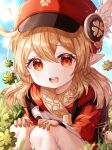 1girl :d ahoge bangs blonde_hair brown_gloves clouds clover day eyebrows_visible_through_hair feet_out_of_frame genshin_impact gloves grass hair_between_eyes hands_on_own_knees hat highres jacket klee_(genshin_impact) knees long_hair looking_at_viewer open_mouth outdoors pointy_ears red_eyes red_headwear red_jacket sky smile solo squatting touyu_1004 upper_teeth white_legwear