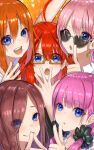 5girls absurdres ahoge bangs bare_shoulders blue_eyes blunt_bangs blush brown_hair closed_mouth commentary_request earrings eyebrows_visible_through_hair face finger_to_mouth flower gesture glasses go-toubun_no_hanayome hair_between_eyes hair_ornament hand_up highres huge_filesize index_finger_raised jewelry light_purple_hair long_hair looking_at_viewer multiple_girls nakano_ichika nakano_itsuki nakano_miku nakano_nino nakano_yotsuba one_eye_closed open_mouth orange_hair pink_hair quintuplets r_(ryo) redhead ribbon rose shirt short_hair shushing sidelocks smile sunglasses upper_teeth v