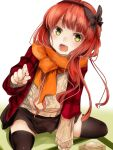 1girl akino_shuu alternate_costume beans de_ruyter_(kantai_collection) eyebrows_visible_through_hair food green_eyes holding holding_food kantai_collection long_hair long_sleeves masu open_mouth orange_scarf redhead scarf simple_background smile solo sweater white_background