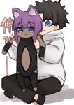 1boy 1girl :3 animal_ear_fluff animal_ears bangs bare_shoulders black_bodysuit black_footwear black_hair black_pants blue_eyes bodysuit cat_ears closed_mouth crossed_legs dark_skin eyebrows_visible_through_hair fate/grand_order fate/prototype fate/prototype:_fragments_of_blue_and_silver fate_(series) fujimaru_ritsuka_(male) hair_between_eyes hassan_of_serenity_(fate) highres hood hood_down hoodie i.u.y kemonomimi_mode lifting_person long_sleeves longcat navel pants purple_hair shadow shoes sitting smile translation_request violet_eyes white_background white_hoodie