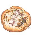 blurry fajar_kurniawan food food_focus highres meat no_humans original pizza signature simple_background still_life vegetable white_background