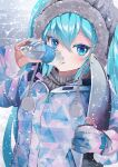 1girl absurdres aqua_eyes aqua_hair bottle coat commentary drawstring drink drinking fur-trimmed_hood fur_trim gloves hatsune_miku highres holding holding_bottle holding_drink hood long_hair pocari_sweat snowboard snowing solo takepon1123 triangle_print twintails upper_body very_long_hair vocaloid winter