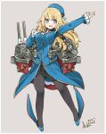 1girl absurdres alternate_eye_color ascot atago_(kantai_collection) beret black_gloves black_skirt blonde_hair blue_eyes blue_headwear blush breasts cannon collared_shirt dated frilled_sleeves frills full_body gloves hand_on_own_chest hat high_heels highres inica jacket kantai_collection large_breasts long_hair long_sleeves machinery military military_uniform open_mouth pantyhose rigging shirt signature skirt smile smokestack solo turret uniform
