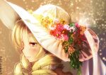 1girl backlighting beige_background blonde_hair close-up closed_mouth drill_hair eyelashes face facing_away flower flower-shaped_pupils gradient gradient_background green_flower grey_background hair_between_eyes half-closed_eyes hat jitome light light_blush light_particles light_smile looking_afar mahou_shoujo_madoka_magica oka_(umanihiki) orange_flower pink_flower profile red_flower shiny shiny_hair simple_background solo sun_hat tomoe_mami twin_drills twitter_username upper_body white_flower white_headwear yellow_eyes yellow_flower