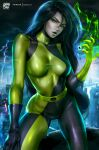 1girl absurdres black_hair bodysuit breasts cityscape fire gloves green_eyes green_fire head_tilt highres kim_possible lips logan_cure long_hair looking_at_viewer medium_breasts shego skin_tight solo