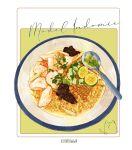 bowl english_text food food_focus fruit garnish highres kooroiwwa lime_(fruit) lime_slice no_humans noodles original ramen simple_background soup spoon spring_onion still_life white_background