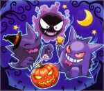 ^_^ artist_name bare_tree black_eyes black_headwear blue_outline border bow bowtie candy candy_cane closed_eyes clothed_pokemon colored_sclera commentary_request crescent_moon fangs floating food gastly gen_1_pokemon gengar ghost grin halloween happy hat haunter highres holding holding_food invisible_chair jack-o'-lantern lollipop moon night open_mouth outdoors outline pikachu pink_neckwear pokemon pokemon_(creature) polka_dot_neckwear pumpkin purple_background purple_sky purple_theme red_sclera rorosuke silhouette sitting smile star_(symbol) tombstone tree twitter_username witch_hat zubat