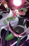 1girl absurdres belt black_skirt braid breasts coat green_eyes green_hair green_legwear highres holding holding_sword holding_weapon kanroji_mitsuri katana kimetsu_no_yaiba large_breasts looking_at_viewer moon multicolored_hair open_clothes open_coat open_mouth petals pink_hair pleated_skirt r_(ryo) skirt solo sword thigh-highs twin_braids twintails uniform weapon