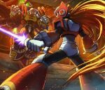 2boys android armor bald battle_damage beam_saber blonde_hair blue_eyes cloak energy_sword facial_mark helmet highres hoshi_mikan long_hair male_focus multiple_boys ponytail robot rockman rockman_x rockman_x4 scar scar_across_eye scarf shoulder_armor shoulder_pads sigma standing sword very_long_hair weapon z_saber zero_(rockman)