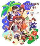2boys 2girls backpack bag baseball_cap beanie braid brown_hair capri_pants closed_eyes commentary_request dual_persona elio_(pokemon) eyelashes flower gen_7_pokemon green_shorts hat highres leggings litten multiple_boys multiple_girls open_mouth palm_tree pants poke_ball poke_ball_(basic) pokemon pokemon_(creature) pokemon_(game) pokemon_sm pokemon_usum popplio red_flower red_headwear rowlet selene_(pokemon) shirt shoes short_sleeves shorts smile starter_pokemon_trio striped striped_shirt t-shirt tank_top teeth tongue tree twin_braids unapoppo yellow_shirt