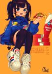 1girl absurdres adidas black_hair black_legwear black_shorts blue_eyes blue_jacket blush_stickers character_request domino's_pizza employee_uniform food full_body highres holding holding_food huge_filesize invisible_chair jacket long_hair looking_at_viewer moai_(more_e_4km) mole mole_under_eye open_mouth original over-kneehighs pizza shoes shorts sitting sneakers solo thigh-highs twintails uniform upper_teeth white_footwear