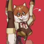 1girl absurdres animal_ears animalization arms_up black_eyes brown_hair brown_legwear commission furry highres long_hair looking_at_viewer multicolored_hair nia_(nia4294) parted_lips raphtalia red_background red_ribbon ribbon simple_background smile solo split standing standing_on_one_leg standing_split star_(symbol) tate_no_yuusha_no_nariagari thigh-highs two-tone_hair white_hair
