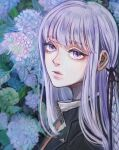 1girl ami_(amm_mi315) bangs black_jacket black_ribbon blunt_bangs braid closed_mouth danganronpa:_trigger_happy_havoc danganronpa_(series) eyebrows_visible_through_hair eyelashes floral_background flower from_side gloves hair_ribbon hydrangea jacket kirigiri_kyouko lips long_hair looking_at_viewer parted_lips purple_hair realistic ribbon side_braid solo symbol_commentary upper_body violet_eyes