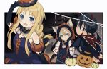 1girl 2boys :d alice_zuberg animal_ears animal_hood arm_up bangs bare_shoulders black_dress black_gloves black_hair blonde_hair blue_eyes blush border commentary_request demon_horns demon_wings detached_sleeves dress elbow_gloves eugeo fake_animal_ears fake_horns gloves green_eyes grin halloween halloween_costume hat hood hood_up horns jack-o'-lantern kirito kochi_(wwwkyck) long_hair looking_at_viewer multiple_boys open_mouth outside_border puffy_short_sleeves puffy_sleeves pumpkin short_hair short_sleeves smile sword_art_online sword_art_online:_alicization white_border wings wolf_ears younger