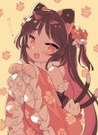 1girl :d animal_ears bangs bare_shoulders blade_(galaxist) blush brown_background brown_hair cat_ears cat_girl cat_tail commentary_request copyright_request eyebrows_visible_through_hair fang floral_background floral_print flower hair_flower hair_ornament hands_up long_hair long_sleeves looking_at_viewer multicolored_hair multiple_tails open_mouth paw_pose pink_hair pink_sleeves print_sleeves red_eyes red_flower short_eyebrows smile solo tail thick_eyebrows translation_request two-tone_hair two_tails very_long_hair virtual_youtuber wide_sleeves