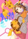 1girl 2020 :3 atsumi_jun backpack bag brown_bag brown_eyes brown_hair chinese_zodiac gen_1_pokemon gloria_(pokemon) green_headwear grey_hoodie hand_up happy_new_year hat holding holding_poke_ball holding_pokemon hood hood_down hoodie long_sleeves miniskirt new_year open_mouth pikachu pink_skirt poke_ball poke_ball_(basic) pokemon pokemon_(creature) pokemon_(game) pokemon_swsh short_hair skirt year_of_the_rat