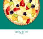 banana banana_slice blue_background blueberry cake food food_focus fruit fruit_tart kiwi_slice kiwifruit no_humans orange original qifu simple_background still_life strawberry white_background