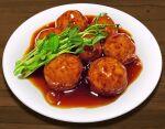 close-up food food_focus hokkaido_(artist) leaf meat meatball no_humans original plate sauce still_life vegetable