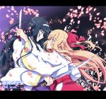 2girls artist_name black_hair blonde_hair blood bloody_clothes blue_eyes bow copyright_name cover_image creator_connection floating_hair from_side hair_bow hairband hakama half_updo highres himegami_no_miko hinomiya_himeko japanese_clothes kaishaku kannazuki_no_miko katana knife kouzuki_chikane letterboxed long_hair looking_at_another miko multiple_girls nontraditional_miko official_art petals profile serious sword violet_eyes weapon wide_sleeves