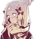 1girl abigail_williams_(fate/grand_order) bangs bow eyebrows_visible_through_hair fate/grand_order fate_(series) hair_bow hair_bun hand_up heroic_spirit_traveling_outfit highres jacket long_sleeves looking_away mask monochrome mouth_mask parted_bangs signature simple_background sleeves_past_wrists sofra solo twitter_username upper_body white_background
