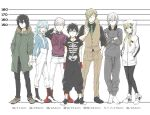1girl 5boys :d baggy_pants barefoot black_hair black_legwear black_pants blue_hair blue_shirt brown_footwear brown_pants brown_vest coat crossed_arms fur_trim green_coat green_neckwear grey_hair grey_pants hair_between_eyes hands_in_pockets headphones headphones_around_neck height_chart hood hood_down hooded_jacket inugami_kohachi iwakiyamayukisatoshironanogojuurokushi_akira jacket kemono_jihen kon_(kemono_jihen) kusaka_kabane mihai_florescu moyo_(inuchiyo) multiple_boys open_mouth pants purple_jacket red_footwear shirt shoes silver_hair skeleton_print smile socks spider_web_print standing striped striped_shirt suspenders tademaru_shiki vertical-striped_shirt vertical_stripes vest white_jacket white_pants yui_(kemono_jihen)