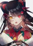 1girl animal_ears bangs brown_hair eyebrows_behind_hair fangs floating_hair flower fur_trim hair_flower hair_ornament head_tilt heterochromia highres inui_toko japanese_clothes kimono long_hair looking_at_viewer nakaba_(nkbexx) nijisanji open_mouth red_eyes red_flower solo virtual_youtuber yellow_eyes yukata