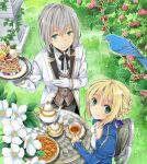 1boy 1girl ahoge alternate_costume aqua_eyes artoria_pendragon_(all) bedivere berries bird blonde_hair braid braided_bun branch breasts cake chair clothing_cutout cup dress fate/grand_order fate/stay_night fate_(series) flower food formal fruit gloves hair_ribbon jacket long_sleeves neck_ribbon outdoors pie ribbon saber silver_hair small_breasts smile sweets table tamaoka_kagari tea teacup teapot tray vest waiter white_flower